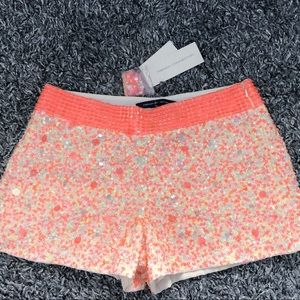 FRENCH CONNECTION SNOWWHITE SEQUIN SHORTS